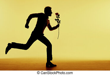 sympatia, wyścigi, jego, człowiek, przystojny