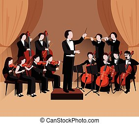 Symphonic Orchestra Flat - Symphonic orchestra with...