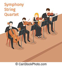 Symphonic orchestra string quartet vector background concept...