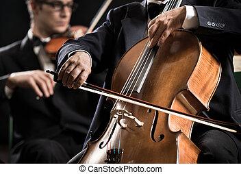 symphonie orchester, performance:, celloist, nahaufnahme