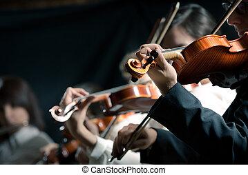 symphonie, violonistes, exécuter, orchestre