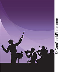 Conductor and musicians silhouettes on a purple background
