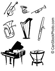 Classical symphony orchestra musical instruments set. Violin with bow, timpani, trumpet, horn, tuba, piano, harp, bassoon hand drawn line vector illustrations isolated on white background