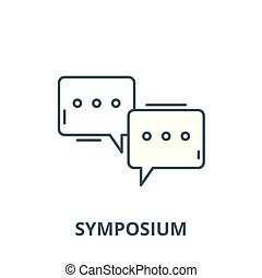 Symposium vector line icon, linear concept, outline sign,...