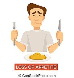 symptôme, appétit, maladie, tuberculose, perte, nourriture,...