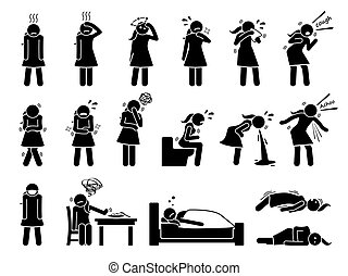 symptômes, cliparts., malade, maladie, virus, malade, grippe, signes, grippe, femme