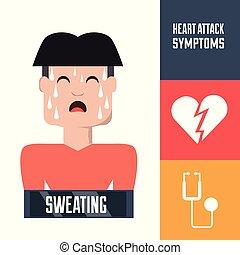 symptômes, coeur, atack, condition, homme
