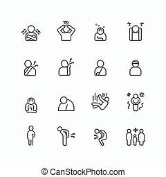 symptomen, lijn, silhouette, ziek, set, blessures, ontwerp, iconen, plat