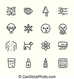 Symptoms and Causes of allergy. Vector thin line icons