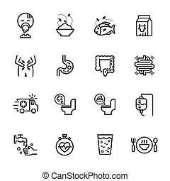 Symptoms and Causes of Diarrhea, Health and medical concept. Vector line icon