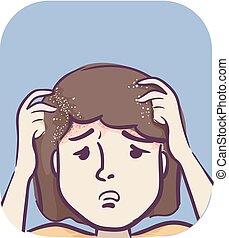 Symptoms Girl Head Dandruff Flaky Skin - Illustration of a ...