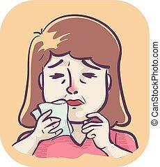 Symptoms Girl Itchy Nose Sneezing Illustration -...