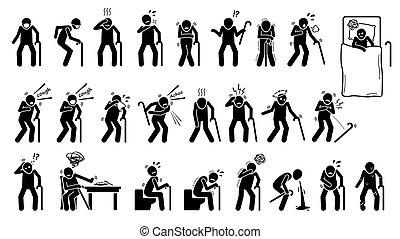 symptoms., infected, krankheit, kranker mann, zeichen & schilder, altes