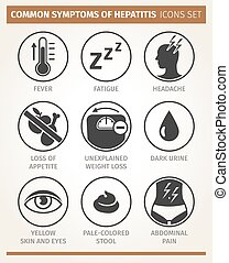 symptoms of hepatitis. vector icon set - Vector infographic...