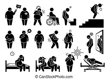 Symptoms of obesity, physical health problem and complications from overweight.