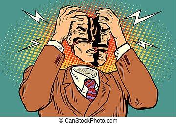 symptomy, ból, głowa, medyczny, skaleczenia