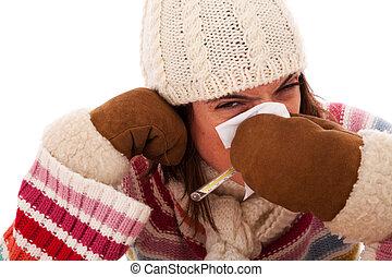 symptomy, kobieta, grypa