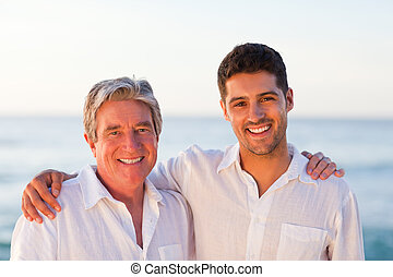 syn, ojciec, jego, portret