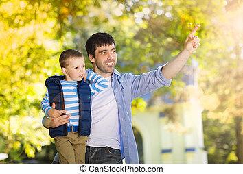 syn, ojciec, natura