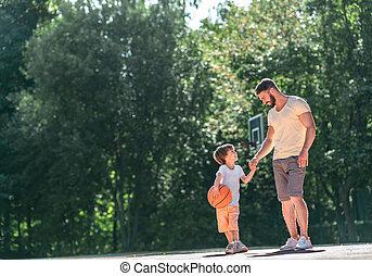 syn, ojciec, outdoors