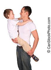 syn, zawiera, ojciec, twarz-oblicować