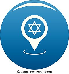 Synagogue map pointer icon blue vector - Synagogue map...