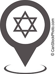 Synagogue map pointer icon vector simple - Synagogue map...