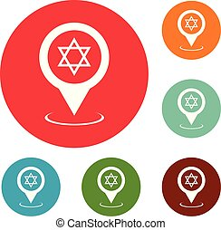 Synagogue map pointer icons circle set vector isolated on...