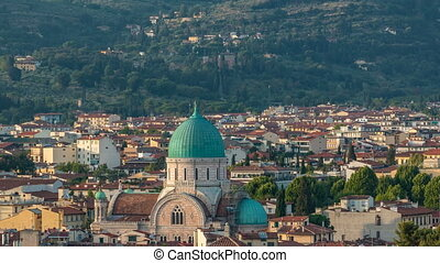 Synagogue of Florence timelapse with green copper dome...