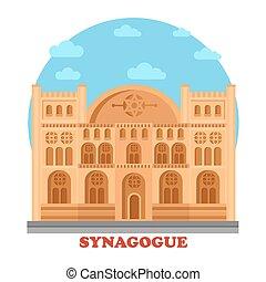 Synagogue or synagog architecture building. Hebrew or ...
