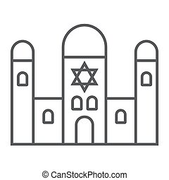 Synagogue thin line icon, religion and architecture, jewish church sign, vector graphics, a linear pattern on a white background, eps 10.