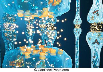 Synaptic transmission, nervous system receptors. Concept...