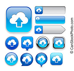 Sync high-detailed web button collection. - Sync blue design...