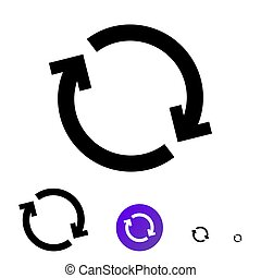 Sync icon. Vector line icon with the image of circular arrows