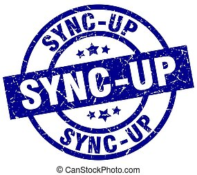 sync-up blue round grunge stamp