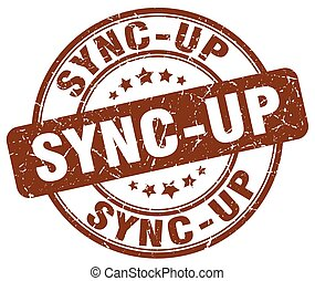 sync-up brown grunge stamp