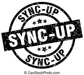 sync-up round grunge black stamp