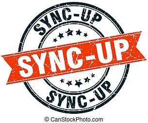 sync-up round grunge ribbon stamp