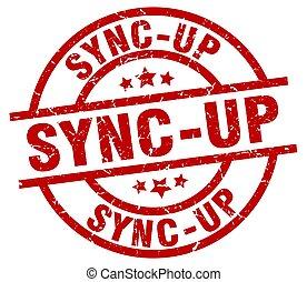 sync-up round red grunge stamp