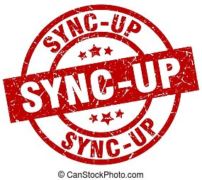 sync-up round red grunge stamp