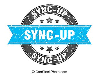 sync-up round stamp with ribbon. label sign