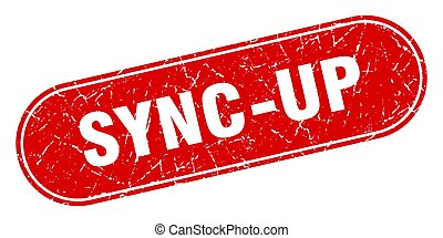 sync-up sign. sync-up grunge red stamp. Label