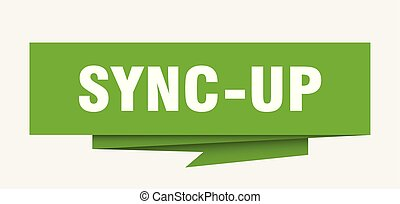 sync-up sign. sync-up paper origami speech bubble. sync-up tag. sync-up banner