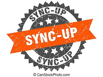 sync-up stamp. grunge round sign with ribbon