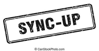 sync-up stamp. square grunge sign on white background