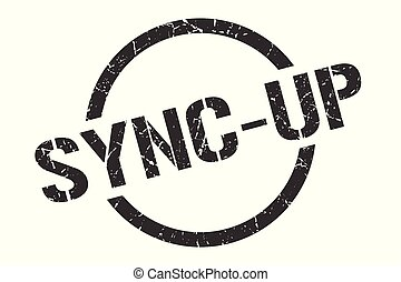 sync-up black round stamp