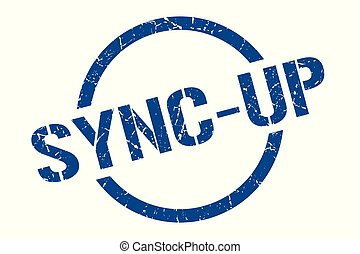 sync-up blue round stamp