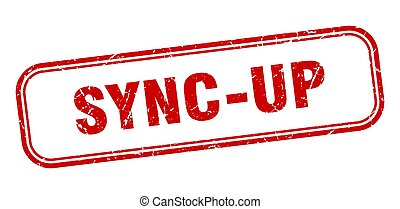 sync-up stamp. sync-up square grunge red sign