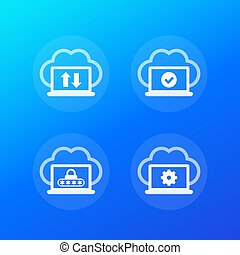sync with cloud, synchronization completed, protected data, vector icons