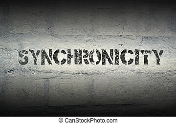 synchronicity WORD GR - synchronicity stencil print on the ...